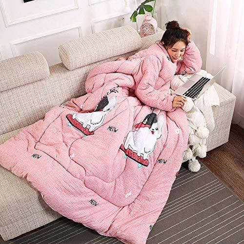Baumwolldecke mit Ärmeln, Home Steppdecke für Erwachsene Büro Freizeit Steppdecke Erwachsene Herren Kinder Warm Decken Multifunktions-Decken Verdickte Steppdecke (150x200cm)