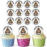 Cara de caca EmojI 30personalizado comestible cupcake toppers/adornos de tarta de cumpleaños–fácil troquelada círculos