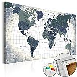 murando Weltkarte Pinnwand 90x60 cm Bilder mit Kork Rückwand 1 Teilig Leinwandbilder Korktafel Fertig Aufgespannt Wandbilder XXL Kunstdrucke Karte Welt Landkarte Kontinent k-B-0011-p-c