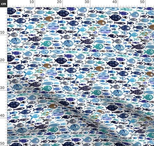 Fisch, Meer, Ozean, Blau, Küsten, Marine, Wasserfarben Stoffe - Individuell Bedruckt von Spoonflower - Design von Emeryallardsmith Gedruckt auf Baumwoll Spandex Jersey -
