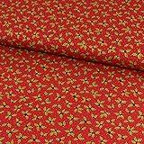 Stoffe Werning Baumwollstoff Weihnachten Ilex Blätter rot