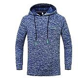 Xmiral Herren Hoodie Sweatshirt Große Größe Outdoor Sports Gebrochene Streifen Mit Kapuze Top Bluse(XL,Blau)