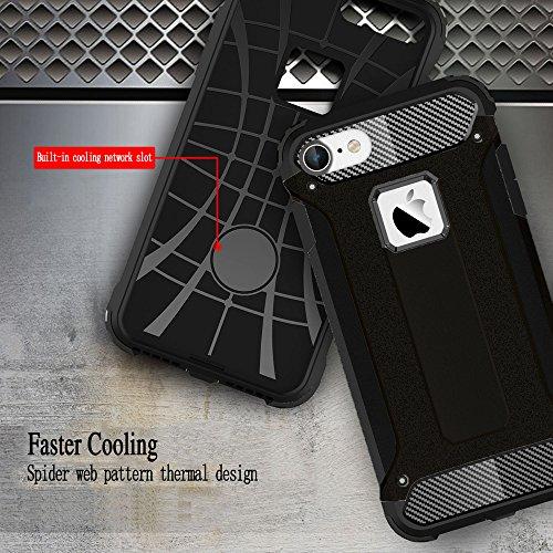 Custodia iPhone 6 Plus / 6s Plus, Cover iPhone 6 Plus / 6s Plus, Alfort 2 in 1 Custodia Protettiva Premium PC Duro + TPU di alta qualità Flip Case Cover per Apple iPhone 6 Plus / 6s Plus 5.5 Smartpho Nero