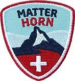 Club-of-Heroes 2 x Matterhorn Abzeichen 55 x 60 mm gestickt/Bergtour Schweiz Walliser Alpen Zermatt Bergsteigen Wandern Klettern/Aufnäher Aufbügler Sticker Patch/Wallis Reiseführer Wanderkarte