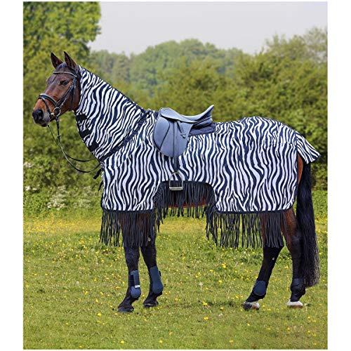 Waldhausen Fliegenausreitdecke Zebra mit Fransen, schwarz/weiß, 155 cm