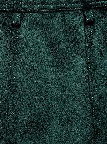 oodji Ultra Damen A-Linie-Rock aus Wildlederimitat mit Nieten Grün (6E00N)