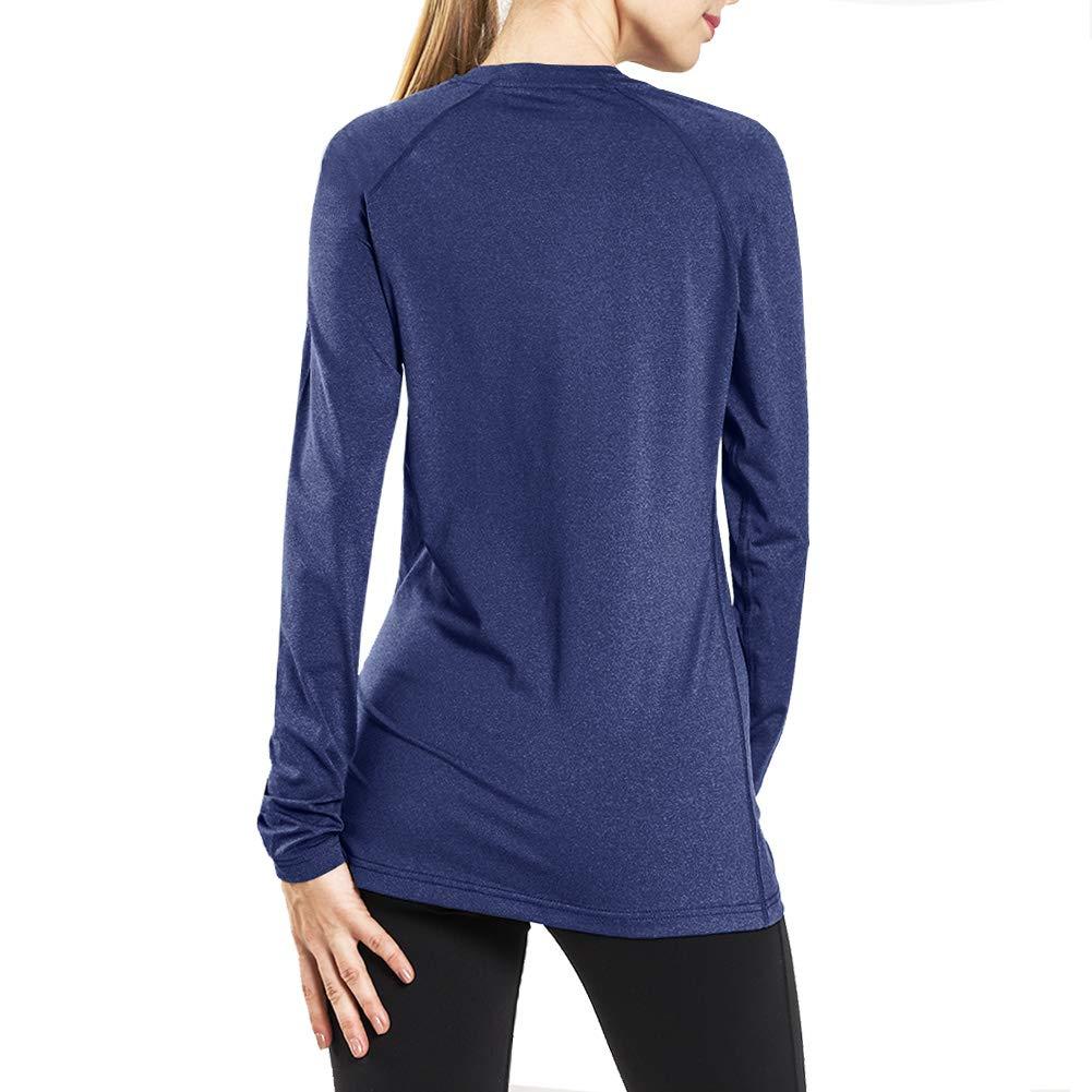 Ogeenier Maglia a Maniche Lunghe T Shirt da Donna con Scollo a V Senza Etichetta T-Shirt Maglietta da Sportivo Palestra Corsa 2 Pack