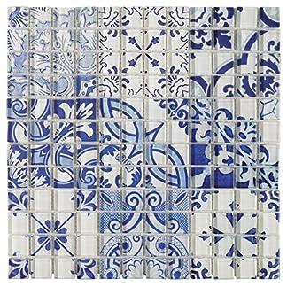 Mosaico de Vidrio en Malla DEC-47082ASE005, Azul, 8 mm, 30 x 30 cm