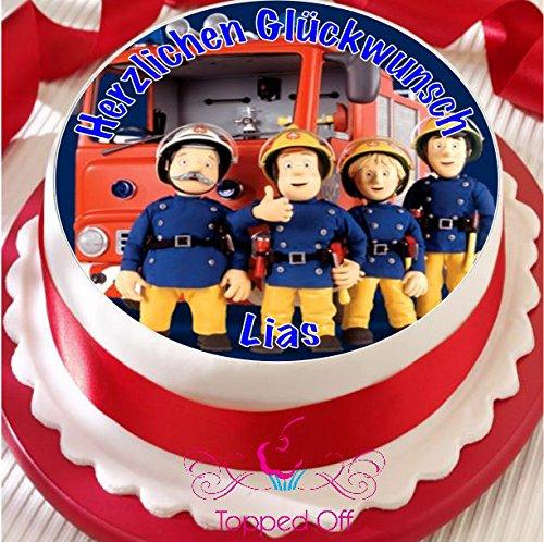 Feuerwehrmann Sam 19cm Runde Fondant Puderzucker essbare Cake Topper und bedruckt mit Ihrem benutzerdefinierte Begrüßung