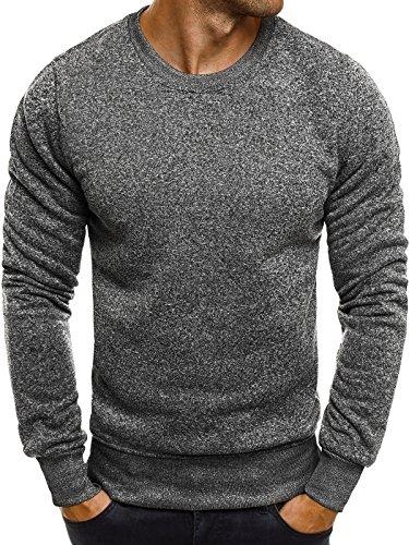 OZONEE Herren Sweatshirt Langarmshirt Pullover Basic Longsleeve J. STYLE 2001-20 XL DUNKELGRAU