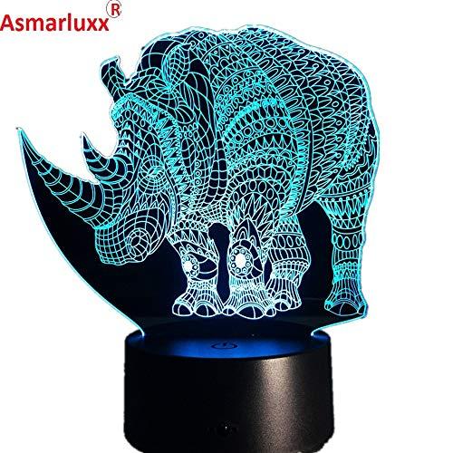 Lampada da notte di rinoceronte Lampada in acrilico colorato Deco per regalo per lampada da tavolo con cambio di colore dell'ologramma 3D del bambino del partito