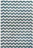 Designer Hochwertiger Teppich Dream Marine Ripple Cream Wellenmuster blau weiß marinistisch in 3 Größen (160 x 230 cm)