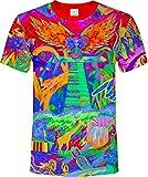 aofmoka Modelle Mädchen Asiatische Bunt Wasserfall Roboter Klavier Arm Dschungel Ägypten Fluoreszierender Blacklight Neon T-Shirt