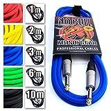 Gitarre führen/Kabel: Elektrische Elektroakustische/Bass/Instrument + lebenslange Garantie 3m/10ft, Blue, Straight Jacks