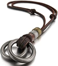 Young & Forever Men-Tastic Boho Bohemian Vintage Double Ring Pendant Adjustable Leather Cord Necklace Gift for Men Womens