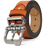 """JingHao Casual Mens Belts for Jeans Alloy Buckle Genuine Leather Belt Black Brown Big Size 28""""-65"""" A10"""