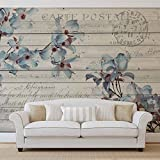 Blumen Holz Muster Vintage - Forwall - Fototapete - Tapete - Fotomural - Mural Wandbild - (3545WM) - XXXL - 416cm x 254cm - VLIES (EasyInstall) - 4 Pieces