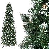 FairyTrees Weihnachtsbaum künstlich Slim, Kiefer Natur-Weiss beschneit, Material PVC, echte Tannenzapfen, inkl. Metallständer, 220cm