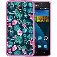 Funda Huawei Ascend Y635, WoowCase [ Huawei Ascend Y635 ] Funda Silicona Gel Flexible Flores Tropicales 2, Carcasa Case TPU Silicona - Rosa