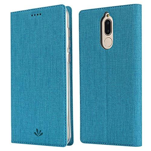 Feitenn Huawei Mate 10 lite Hülle, dünne Premium PU Leder Flip Handy Schutzhülle   TPU-Stoßstange, Kartenschlitz, Kameraschutz- und Standfunktion Brieftasche Etui (Blau)