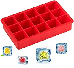 Woogor Ice Cube Tray Flexible Silicone Create Square Ice Cube Mold Makes 15 Perfect Ice Cubes Ice Cube Maker Random Colors