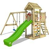 WICKEY Parco giochi in legno MultiFlyer tetto in legno, Giochi da giardino con altalena e scivolo mela verde, Casetta da gioc