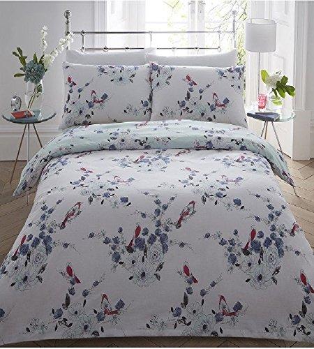 Beautiful Birds Blue Black Printed Duvet Quilt Cover Set Pillowcase Single Double King (King, Multi Colors)