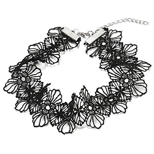 COOLSTEELANDBEYOND Breiten Blumen Choker Halsketten Schwarz Spitze Tattoo Halskette für Damen Mädchen