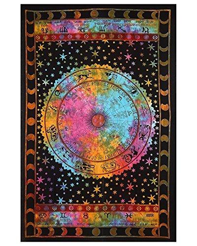 Tie Dye Schwarz Sternzeichen Horoskop Indische Astrologie Bohemian Psychedelic Verwickelte Floral Design Indische Tagesdecke Tapisserie 85x55 Zoll (Exotische Wasser-designs)