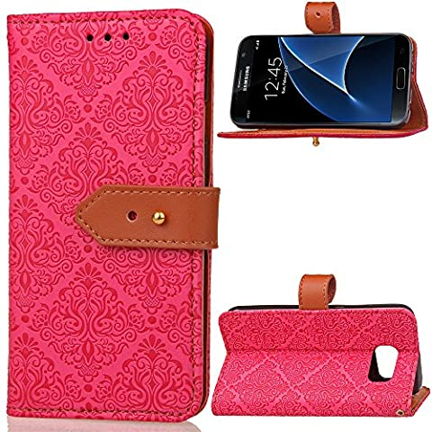 Samsung Galaxy S7 Case Leather, Ecoway European mural embossed pattern PU Leather Stand Function Protective Cases Covers with Card Slot Holder Wallet Book Design Folio Magnetic Flip Stand Feature for Samsung Galaxy S7 - rose Red