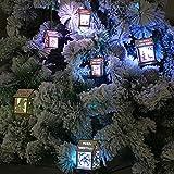 DIY Weihnachten Holz Anhänger Weihnachtsstadt Weihnachtsdorf mit Beleuchtung LED Weihnachtsbeleuchtung warmweiß Fenster Deko Weihnachten (B)