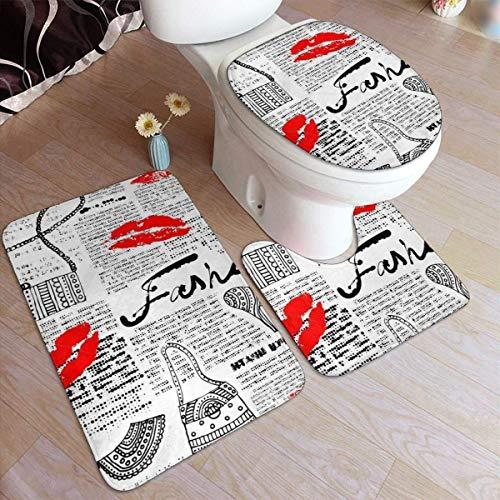 RedBeans Anti-Rutsch-Badvorleger, 3-teilig, Flanell, Badvorleger, modische Elemente, Küsse, Lippenstift, Taschen, Schuhe, Kleid, weicher WC-Vorleger