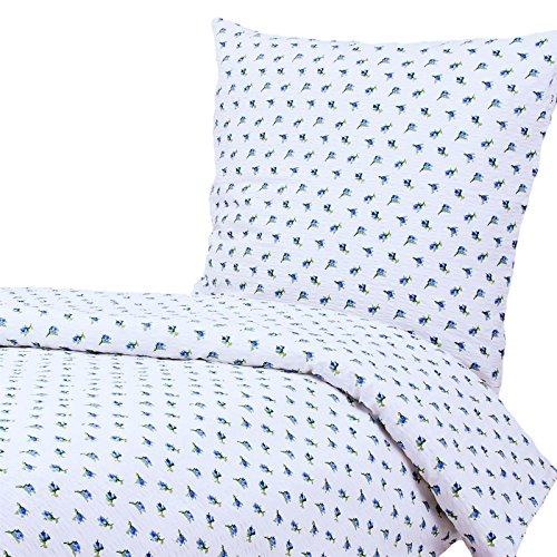 Hans-Textil-Shop Seersucker Bettwäsche 135x200 cm Rosen Blumen Blau
