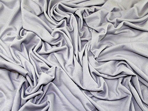 Uni Rib Stretch Jersey Knit Kleid Stoff silber grau, Pro Meter -