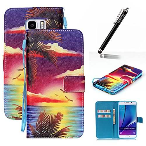 Copertura per Samsung Galaxy Note 5 in pelle, Samsung Galaxy Note 5 Custodia Portafoglio, Note 5 Case Cover, Ukayfe blue Wave-this iphone is locked Design dellunità di elaborazione di vibrazione del colorato-Alba in mare