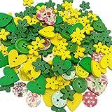 OULII Bottoni di legno, per scrapbooking/cucito/bricolage, da bambino, decorazioni natalizie/per il matrimonio, giallo