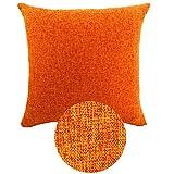 KAMIXIN kissenhüllen Kissenbezug Baumwolle Leinen Zuhause Dekorative Quadrat Wurf Kissenbezüge Set Kissen Fall für Sofa Schlafzimmer Auto Zierkissenbezüge Orange 50X50CM