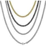 ChainsHouse Collar Cubano para Colgantes Hombres Mujeres, 3/6/9/12mm de Ancho 41-76cm de Largo [Platino Negro Dorado], Acero