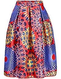 annflat de impresión africana de las mujeres Casual A-line Vestido Plisado Midi falda