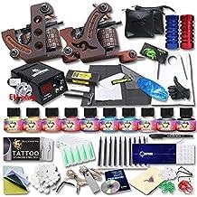 DragonHawk Professional Tattoo Kit 2 Machine Gun TOP CE Power Supply Needles Grip Tip USA Brand Ink KT-2EU-1