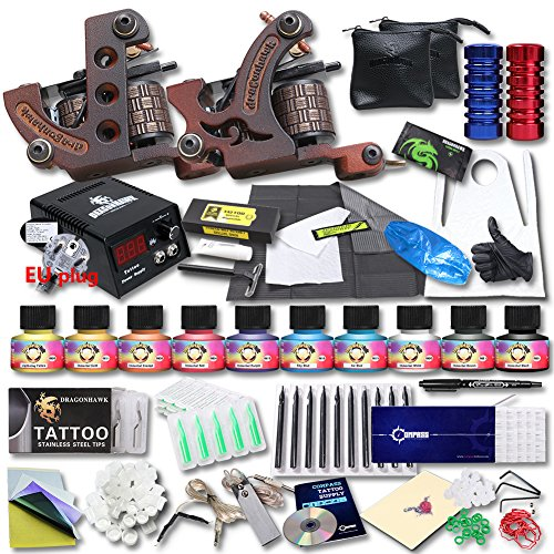 dragonhawk-professional-tattoo-kit-2-machine-gun-top-ce-power-supply-needles-grip-tip-usa-brand-ink-