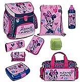 Disney Minnie Mouse Schulranzen Set 9lg. Sporttasche, Federmappe gefüllt Regen-/Sicherheitshülle Scooli MIHL8252 Maus