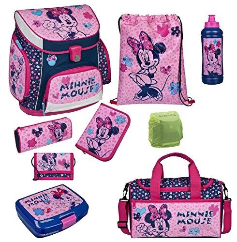Familando Scooli Schulranzen-Set rosa Disney Minnie Maus 9 tlg. mit Federmappe, Dose, Flasche, Sporttasche und Regenschutz - Set Schwan