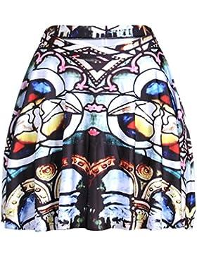 Honghu Verano Elegante Mini Corto Plisada Impresión Falda para Mujer