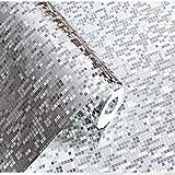 10 Meter 3D Retro Mosaik Dreidimensional PVC Fototapete Top Tapete Wandbilder Bild Tapeten Wand (silber)