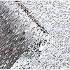 Idea Regalo - LINGJUN10M 3D Carta da Parati Moderna Non Tessuto Carta Adesiva per Damascata per Camera da Letto o Soggiorno Sfondo TV Hall Hotel Argento Luminoso