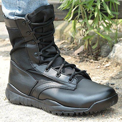 WZG les fans de l'armée d'été pour hommes en plein air bottes de désert militaires, des bottes de combat bottes tactiques sur le terrain bottes hommes commando haut-dessus des chaussures de l'armée Black