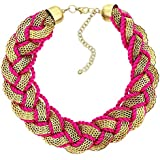 Indian Fashion Jewellery Hot Pink Thread Chain Necklace For Women