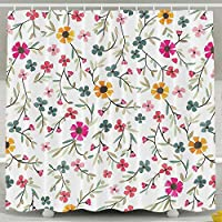 Presock Cortinas De Ducha, Flower Print Shower Curtain, Custom Waterproof Fabric Shower Curtain Sets