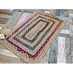 Trenzado de mano tejidas Yute & Multi Coloured borde de algodón Alfombra india (Second Nature) – varios tamaños, multicolor, 60cm x 90cm